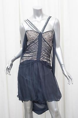 HUSSEIN CHALAYAN Womens Gray Silk Chiffon Lace Strapless Draped Dress 40/4 S