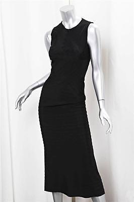 Black Cotton Bandage - PRADA Black Cotton Grosgrain Ribbon Bandage Long Dress s.40