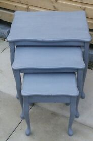 Shabby chic vintage style nest of tables - grey