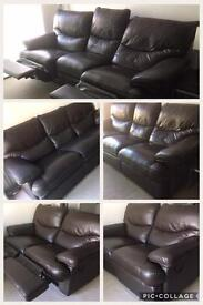 3 seater and 2 seater brown real leather reclining sofas