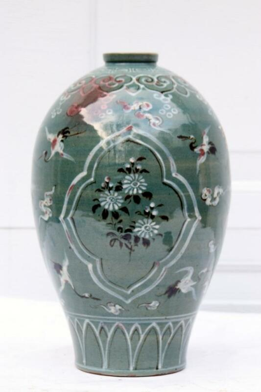 Antique Korean Goryeo Celadon Vase with Cranes and Flowers