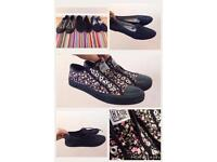 3 pairs Women's size 5 trainers plimsolls flat shoes converse style new look slip on ladies