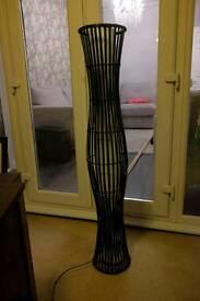Tall Floor Lamp Black Brown Wicker Wooden modern