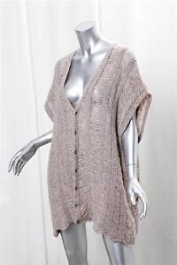 MAISON-MARTIN-MARGIELA-Womens-Beige-Alpaca-Knit-Oversized-Sweater-Cardigan-L