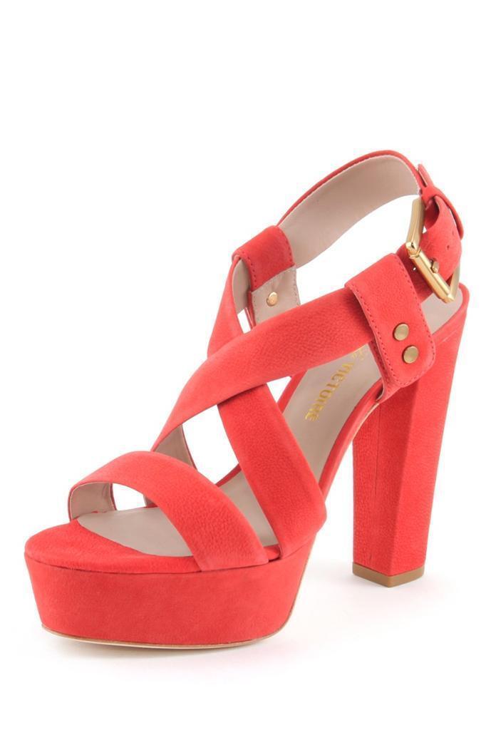 Pour La Victoire Women's Nealla CORAL RED Platform Sandal High Heels Leather NEW 1