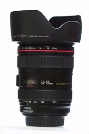 Canon EF 24-105mm F/4 IS L USM Lens + Lens Hood and bag.