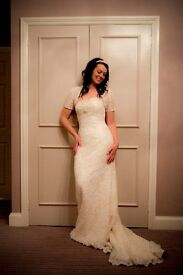 Vintage style couture wedding dress with lace bolero