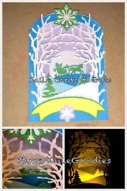 Winter Scene Box Card with Battery Tea Light Candle