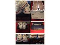 Size 3 infant white converse. WORN ONCE.