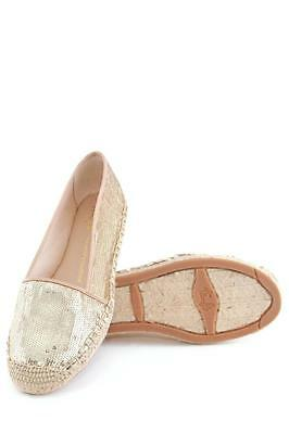 Franco Sarto Whip Flat PEACH Gold Sequin Sparkle Canvas washed Beaded Espadrille