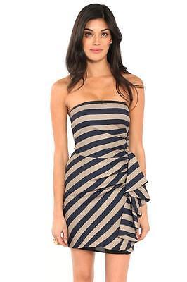 BCBG Max Azria Reya Dress Dark Ink Combo Strapless Striped Ruffle Navy Tan NEW Dark Tan Combo