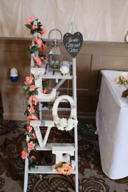 Grey vintage ladders with love letters - perfect to be used in Home or as wedding decorations