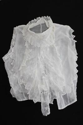"""FRENCH ANTIQUE VICTORIAN WHITE COTTON HAND EMBROIDERED BLOUSE FRONT 17"""" LENGTH"""