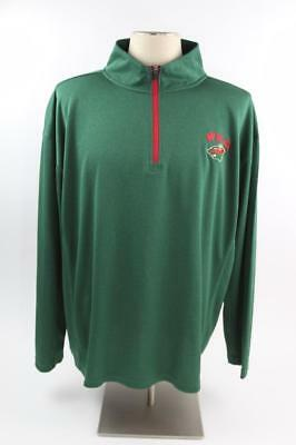 Mn Wild Nhl Hockey 1 4 Zip Pullover Polyester Size Mens Xl Green