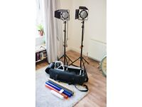 Ultimate 2x light Redhead Kit! Inc. Dimmers, Stands, Case, Trolley, Gels & Bulbs