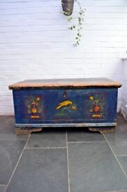 Beautiful Antique Swedish Marriage Chest Trunk - Original Paint - Dated 1913