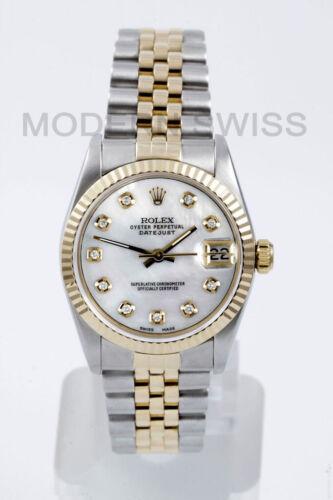 Rolex Ladies Midsize Datejust 18k Gold Steel White Mop Diamond Jubilee Quickset
