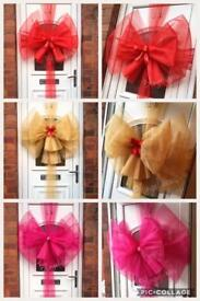 Christmas Door Bow Decoration Tree Wreath Lights Santa Gifts Toys Kids Garland Ribbon