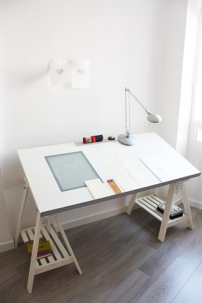 Ikea drafting table with adjustable top, light box and adjustable trestle  legs