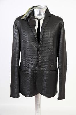 Emporio Armani Textured Leather Blazer Cut Jacket Black EU54 XL RRP £1350