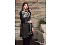 Pakistani Salwar Kameez - Khaadi Collection (Black) - Stitched