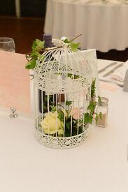 Decorative white birdcages x 9