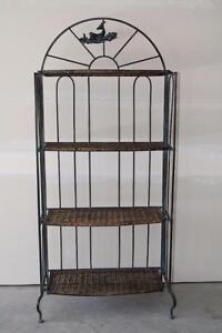 Antique-Brushed Wrought Iron & Rattan Bakers Rack
