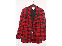 Ladies Pendleton vintage red black yellow tartan jacket/blazer 100% Virgin Wool