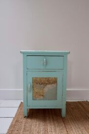 Vintage small/side cupboard with map découpage detailing