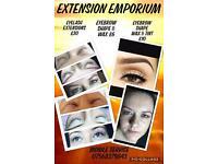 Eyebrow waxing tinting, eyelash extensions