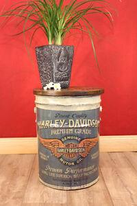 Hocker Beistelltisch Industrial Chic Shabby vintage Tisch Trommel Blech Eimer