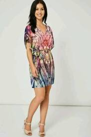 Ex branded abstract pattern belted dress