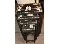 Black mother of pearl Chinese set of nested tables with glass tops