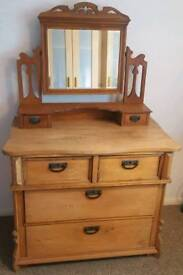Very old solid chest of drawers and mirror unit