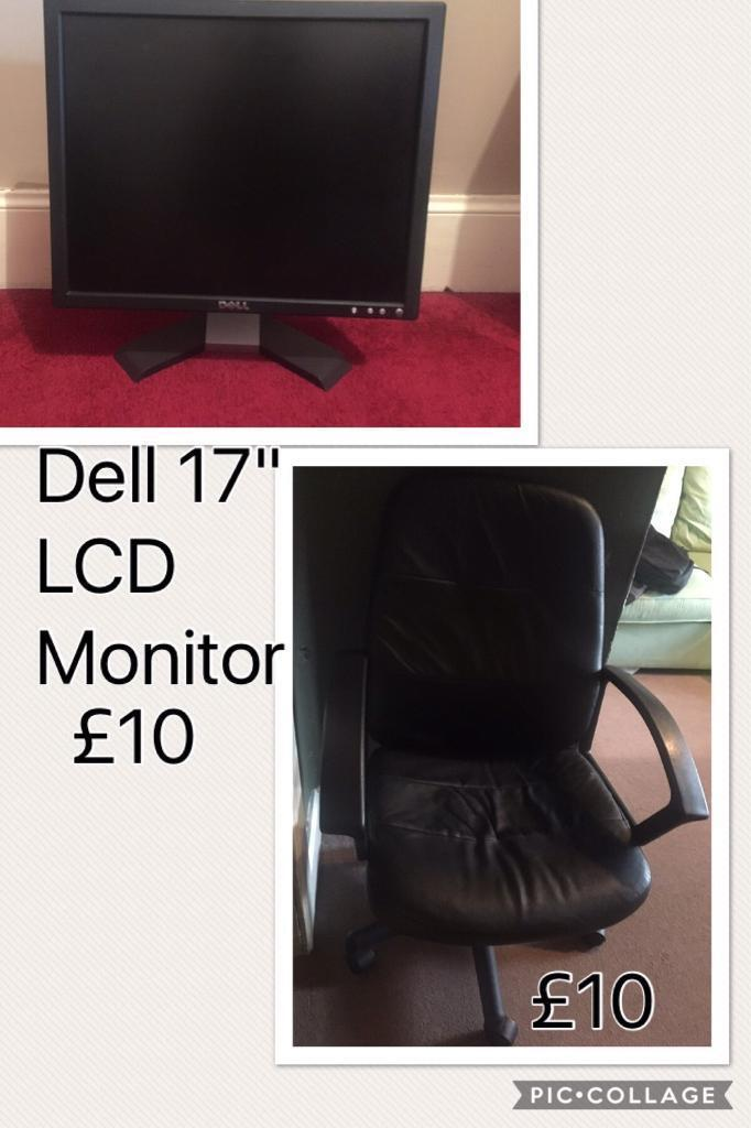 Black leather computer chair and LCD monitor BOTH SOLD!!