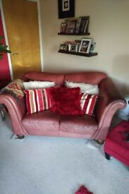 2 Seater & 3 Seater Burgundy Leather Sofa Pair