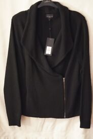 LADIES PLUS SIZE (26/28) BRAND NEW -LIVE UNLIMITED DESIGNER FOR EVANS BLACK WOOL ZIP FRONT JACKET