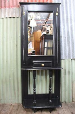 A Vintage Ebonised Mirror Back Hall with Drawer