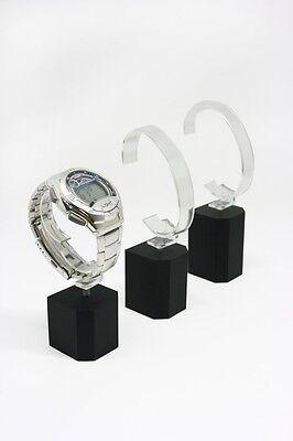 Set Of 6 Black Acrylic Wrist Watch Bracelet Holder Rack Display Stand Detachable
