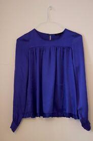 Blue satin silk blouse MAJE - size 8 UK