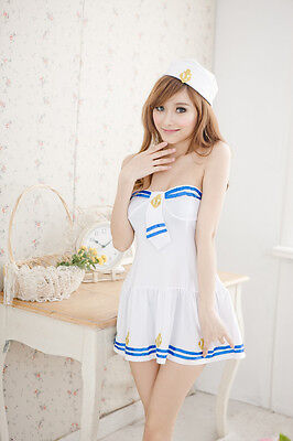 Sexy Sailor Girl Navy Uniform Costume White Dress for Cosplay & Lingerie Party - White Navy Uniform Costume