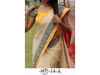 Bollywood Indian Party Wear Beige Pink Saree Sari Bridal Wedding Pakistani Sai-7