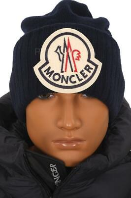 NEW MONCLER NAVY BLUE CURRENT COLLECTION LOGO WOOL BEANIE HAT ONE (Blue Moncler)