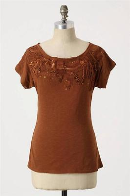 Merriment Tee Size XS, Embellished Short Sleeve Top By C Keer Anthropologie