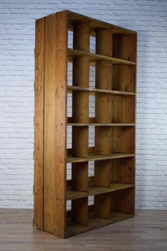 Vintage Industrial Pine & Ply Wood Pigeon Hole Bookcase Bookshelves Shop Display