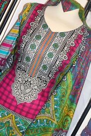 Unstitched Colourful Lawn Material, Shalwar Kameez/Dress/Suit, Zee.H.M