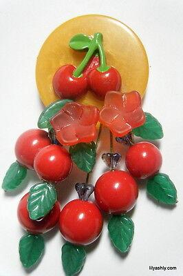 ARTIST CHERRY PIN BROOCH Butterscotch BAKELITE & Red LUCITE Dangles NEW DESIGN