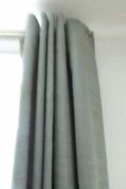 2 PAIRS EXC. QUALITY LINED EYELET CURTAINS Pale green with gold fleck 64 x 90 (will split)