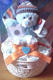 BABY BOY NAPPY CAKE / GIFT BASKET - With Lucky Sixpence & Keel Toys Soft Teddy