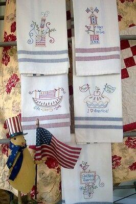 Americana Celebration #552 ~ Bird Brain Designs ~ Embroidery Dishtowel Patterns